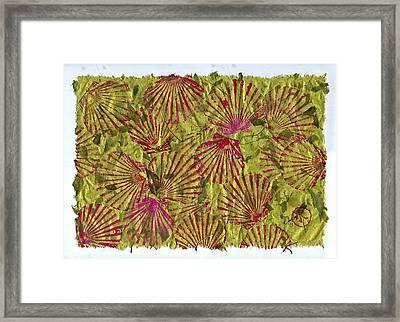 Gyotaku Scallops - Christmas Bushel - Holiday Shellfish Framed Print