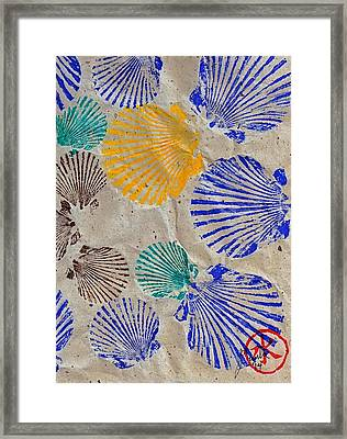 Gyotaku Scallops - Shellfish Apetite Sushi Framed Print