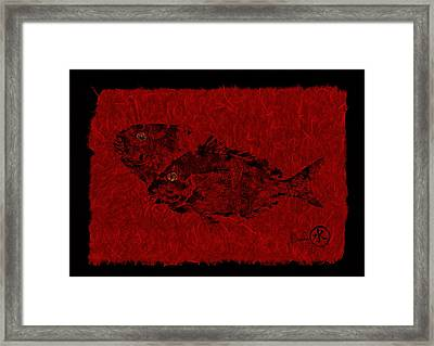 Gyotaku Scup Series 2  Red Unryu Paper Framed Print by Jeffrey Canha
