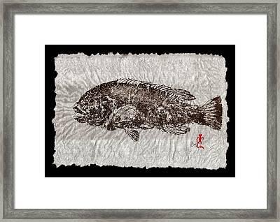 Gyotaku Tautog On Rice Paper W Black Border Framed Print by Jeffrey Canha