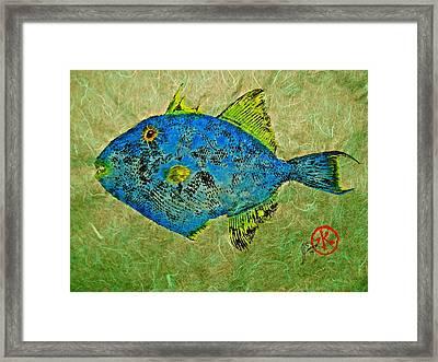 Gyotaku - Triggerfish - Queen Triggerfish Framed Print