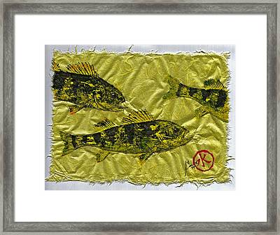 Gyotaku - Yellow Perch - Walleye Framed Print