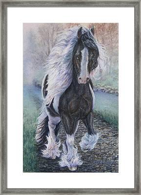 Foggy Morning Stroll Gypsy Horse  Framed Print