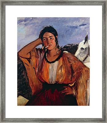 Gypsy With Cigarette Framed Print by Edouard Manet