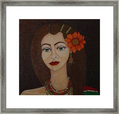 Gypsy With Green Eyes Framed Print