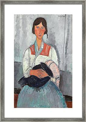 Gypsy Woman With Baby Framed Print by Amedeo Modigliani