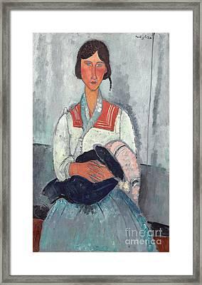 Gypsy Woman With Baby Framed Print by Amedeo Modigliani