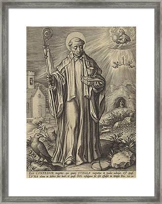 H Benedict Of Nursia, Hieronymus Wierix Framed Print by Hieronymus Wierix