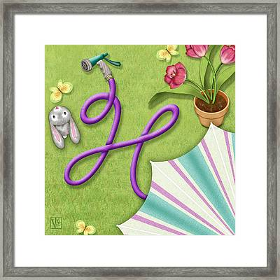 H Is For Garden Hose  Framed Print by Valerie Drake Lesiak