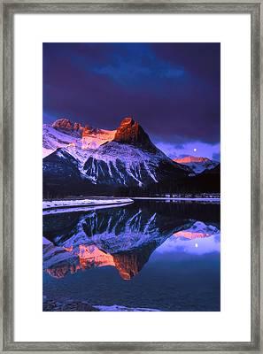 Ha-ling Peak And Full Moon Framed Print