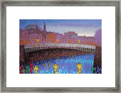 Ha Penny Bridge Dublin  Cropped Framed Print by John  Nolan