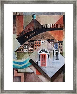 Ha Penny Bridge In Georgian Dublin Framed Print by Val Byrne