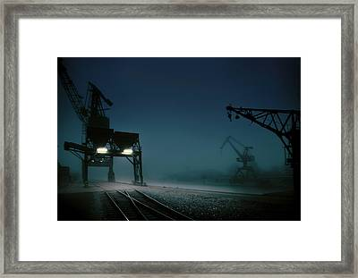 Habour At Night Framed Print by Hans Bauer