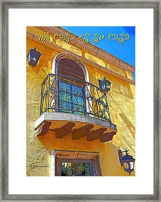 Hacienda Balcony Railing Lanterns Mi Casa Es Su Casa Framed Print