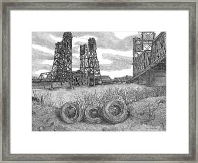 Hackensack River Train Bridge Framed Print