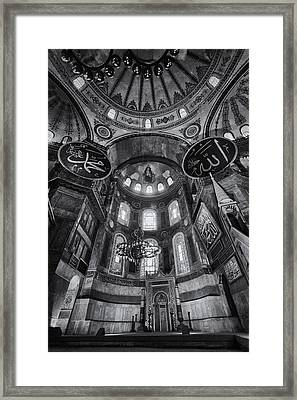 Hagia Sophia Interior - Bw Framed Print