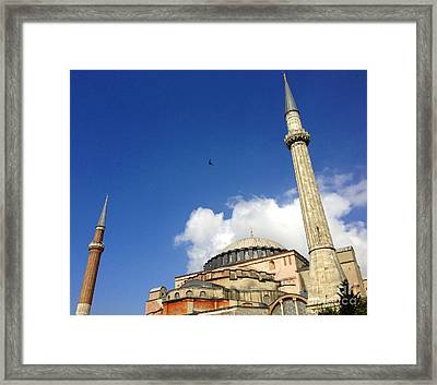 Hagia Sophia With Two Minarets Istanbul Turkey Framed Print by Ralph A  Ledergerber-Photography