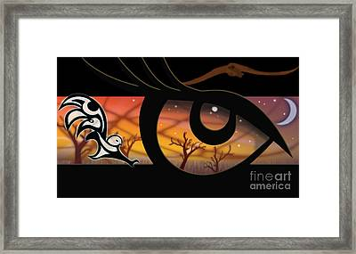 Haida Owl Raven Digital Illustration Owl Eyes Framed Print