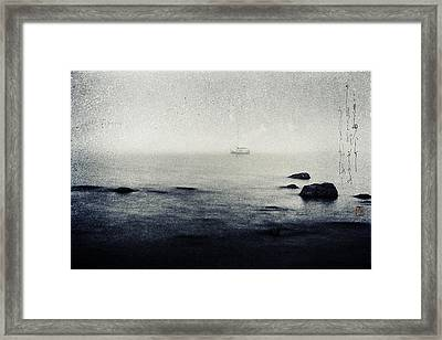 Haiga Rowing Through The Mist Framed Print by Peter v Quenter