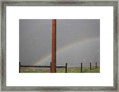 Framed Print featuring the photograph Hail And Rainbow by Ryan Crouse
