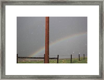 Hail And Rainbow Framed Print