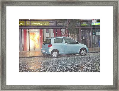 Hail Stones From Damaging Tropical Storm Framed Print by Ashley Cooper