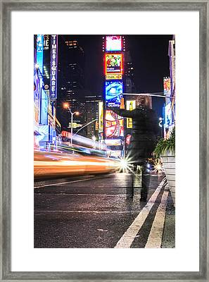 Hailing A Cab Times Square Framed Print by John McGraw