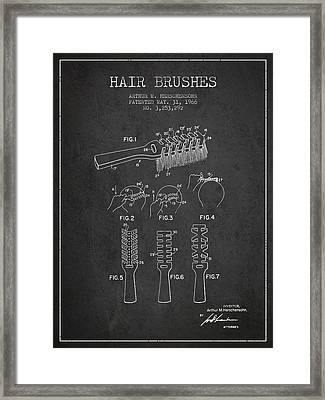 Hair Brush Patent From 1966 - Charcoal Framed Print by Aged Pixel