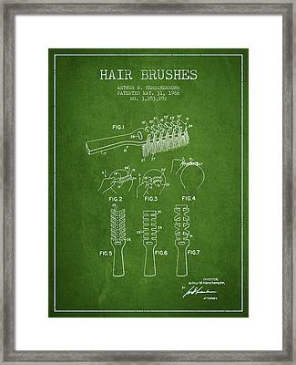 Hair Brush Patent From 1966 - Green Framed Print by Aged Pixel