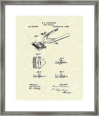 Hair Clipper 1881 Patent Art Framed Print by Prior Art Design