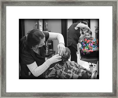 Hair Dresser - The First Cut Framed Print by Lee Dos Santos
