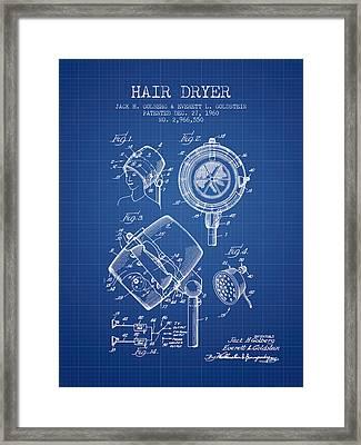 Hair Dryer Patent From 1960 - Blueprint Framed Print