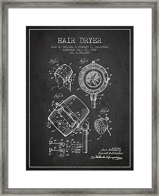 Hair Dryer Patent From 1960 - Charcoal Framed Print