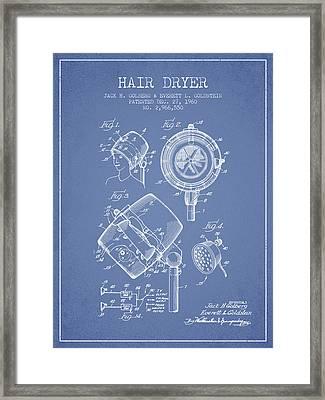 Hair Dryer Patent From 1960 - Light Blue Framed Print