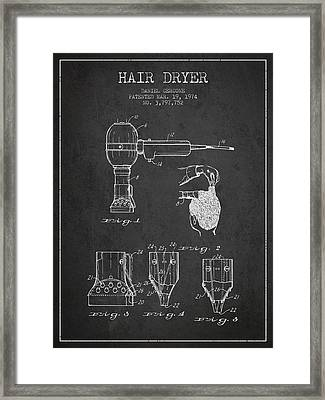 Hair Dryer Patent From 1974 - Charcoal Framed Print