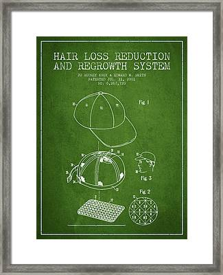 Hair Loss Reduction And Regrowth System Patent - Green Framed Print by Aged Pixel