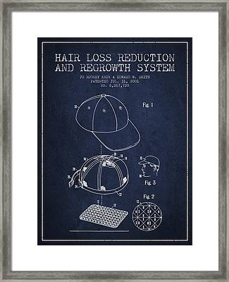 Hair Loss Reduction And Regrowth System Patent - Navy Blue Framed Print by Aged Pixel