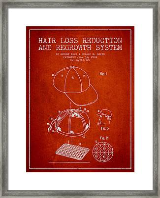 Hair Loss Reduction And Regrowth System Patent - Red Framed Print by Aged Pixel