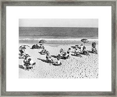 Hair Salon On The Beach Framed Print by Underwood Archives