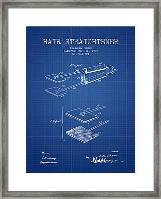 Hair Straightener Patent From 1909 - Blueprint Framed Print