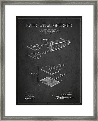 Hair Straightener Patent From 1909 - Charcoal Framed Print