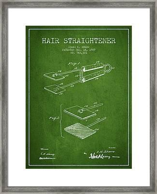 Hair Straightener Patent From 1909 - Green Framed Print