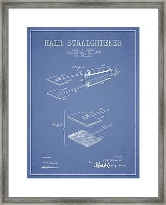 Hair Straightener Patent From 1909 - Light Blue Framed Print