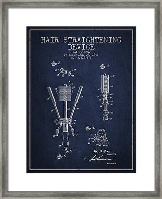 Hair Straightening Device Patent From 1947 - Navy Blue Framed Print