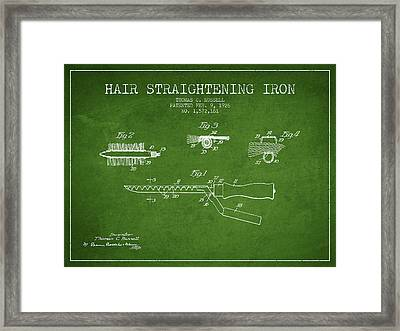 Hair Straightening Iron Patent From 1926 - Green Framed Print by Aged Pixel