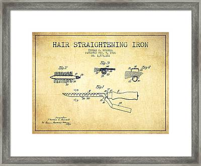 Hair Straightening Iron Patent From 1926 - Vintage Framed Print