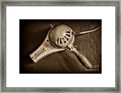 Hair Stylist - Vintage Hair Dryer - Black And White Framed Print