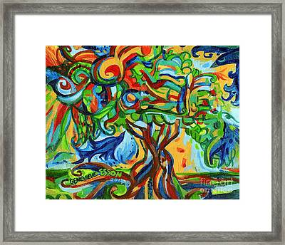 Hairdoodle Tree With Birds Framed Print by Genevieve Esson