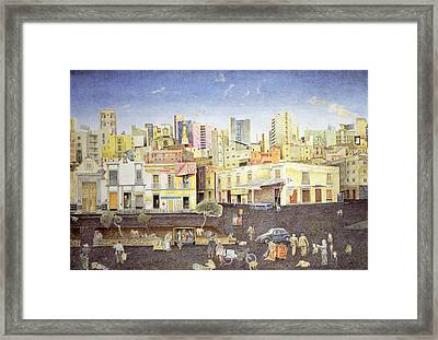 Hairdresser In The Plaza Roldan, 2001 Oil On Canvas Framed Print by James Reeve