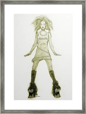 Hairy Boots Framed Print by Tine Nordbred